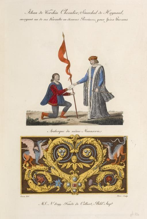 Téhan de Werehin chevalier, séneschal de Haynaul, envoyant un de ses heraults en diverses provinces, pour faire harmes; arabesque du même ma...