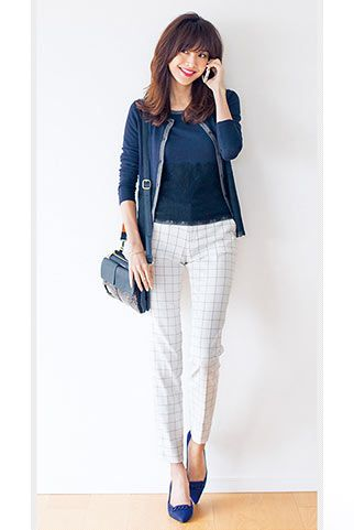 白×紺で品良さをおさえつつ固すぎない 〜きれいめカジュアル系タイプのファッション スタイルのアイデア コーデ〜