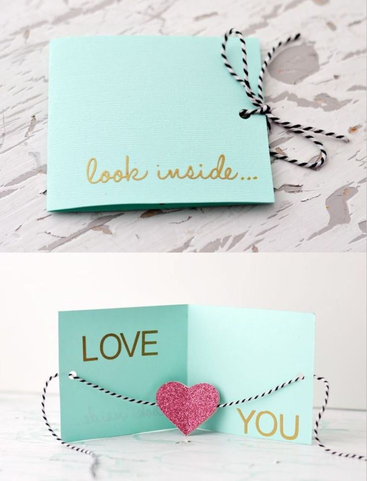 "DIY greeting card ~ ""Look inside..Love you"" 
