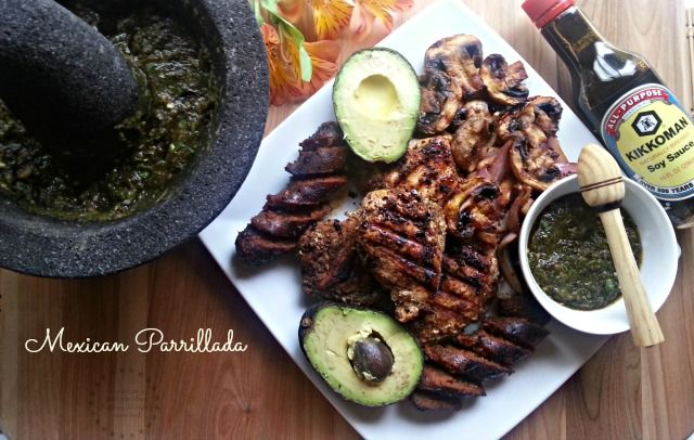 A Mexican parrillada infused with the delicious flavor of the Kikkoman soy sauce which complements great with my Latino flavors.