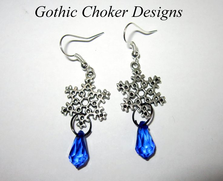 Snowflake and blue crystal earrings. R50 approx $5.  Purchase here: https://hellopretty.co.za/gothic-choker-designs/snowflake-and-blue-crystal-earrings
