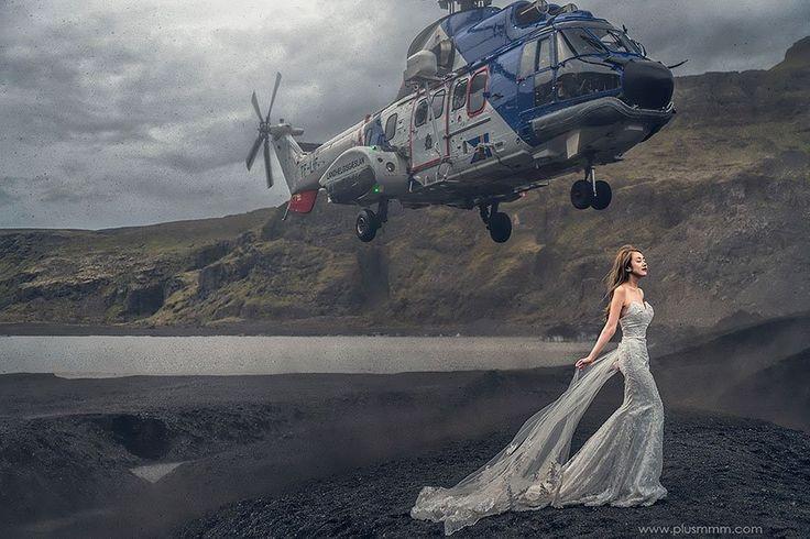 Helicóptero quase acerta noiva durante foto para casamento