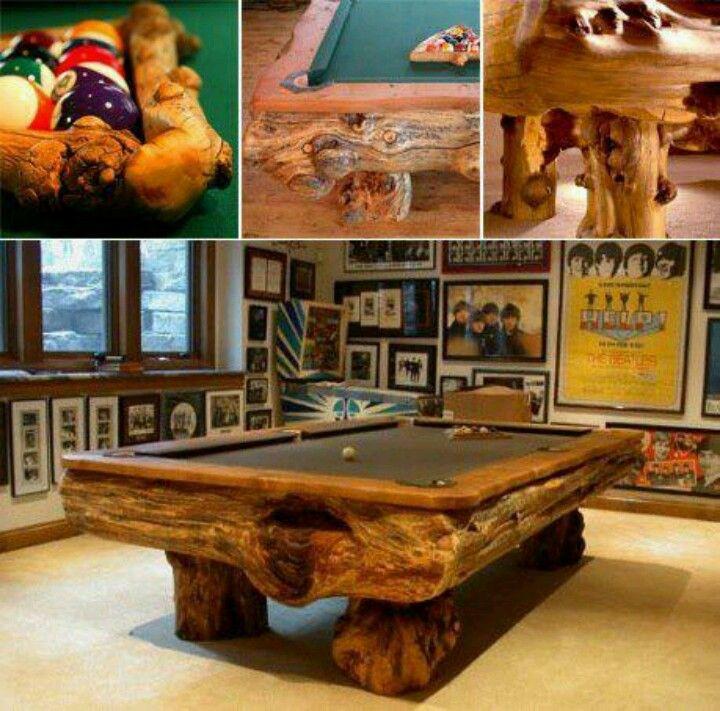 Raw Wood Pool Table