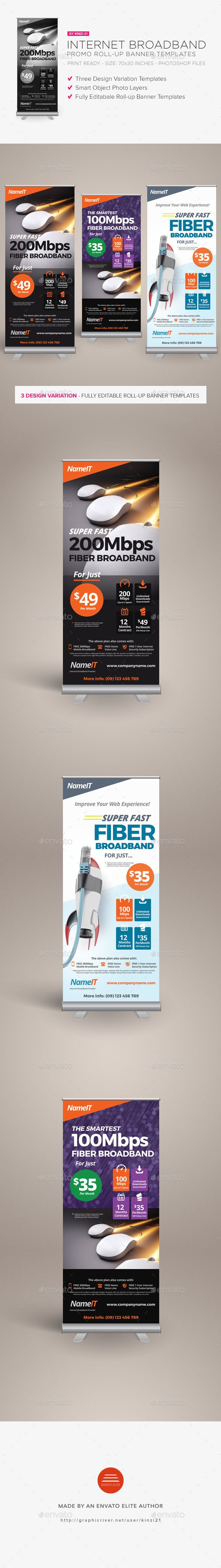 Internet Broadband Promotion Rollup Banner Templates — Photoshop PSD #x-banner...
