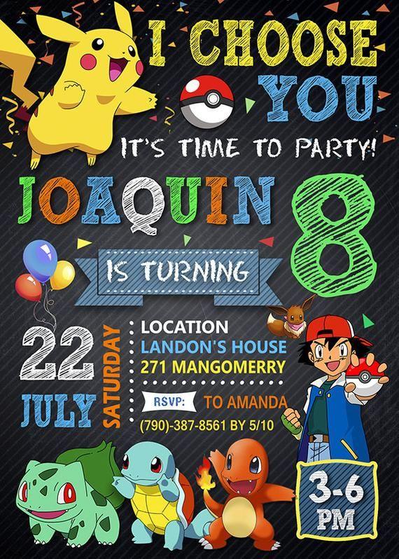 Pokemon Go Invitation Birthday