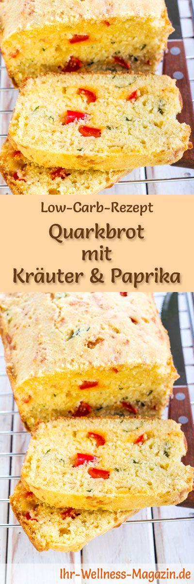 Rezept für Low Carb Quarkbrot mit Kräuter und Paprika: Kohlenhydratarm, ohne Getreidemehl, gesund und gut verträglich ... #lowcarb #brot #backen