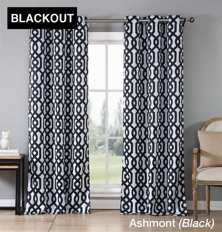 trendy blackout geometric curtains set of 2