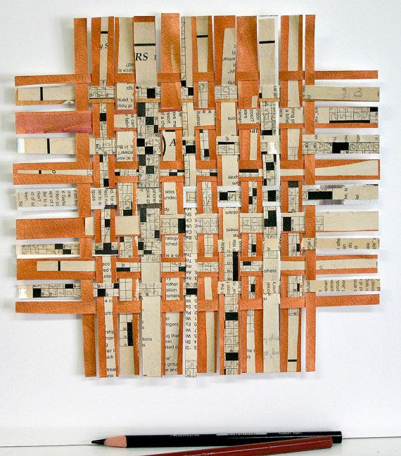 Copper Crossword Paper Weaving- Original Abstract Mixed Media- Woven Paper-Black and White-