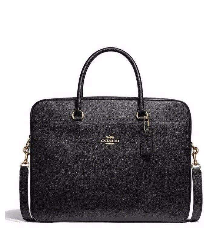 e1b3aa01e7 Coach Laptop Bag Woman s Leather Black Gold NWT F39022 MSRP 395 ...
