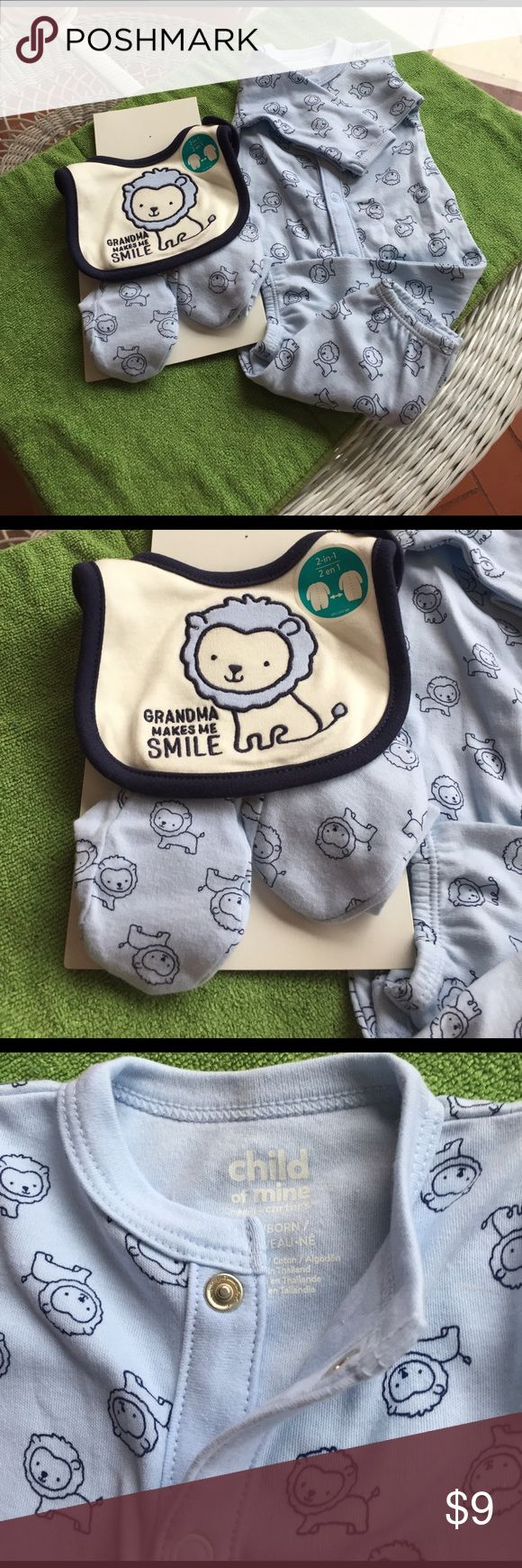 Two in one onesie. Bib and booties NB nwot This is a child of mine onesie that snaps and converts to a gown.it's a size newborn it's new without tags and it also comes with a grandma makes me smile bib and booties.  it's adorable child of mine, Carters Matching Sets