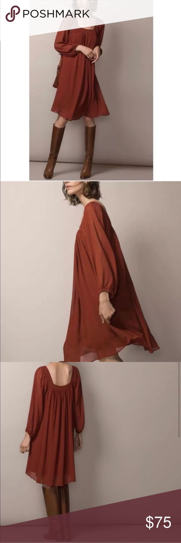 """NWT Massimo Dutti Terracotta Brick Peasant Dress Great flowy loose-fitting dress in beautiful terracotta color. Wear year round with boots or sandals. Size medium. Lined, sleeves are not lined. Has a brand tag but price tag is missing. About 21"""" underarms, shoulder to hem-37"""" Massimo Dutti Dresses Long Sleeve"""