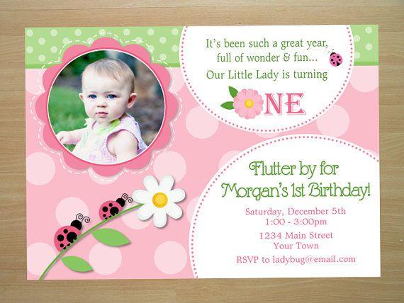 Pink Ladybug Birthday Invitation - Digital File (Printing Available)