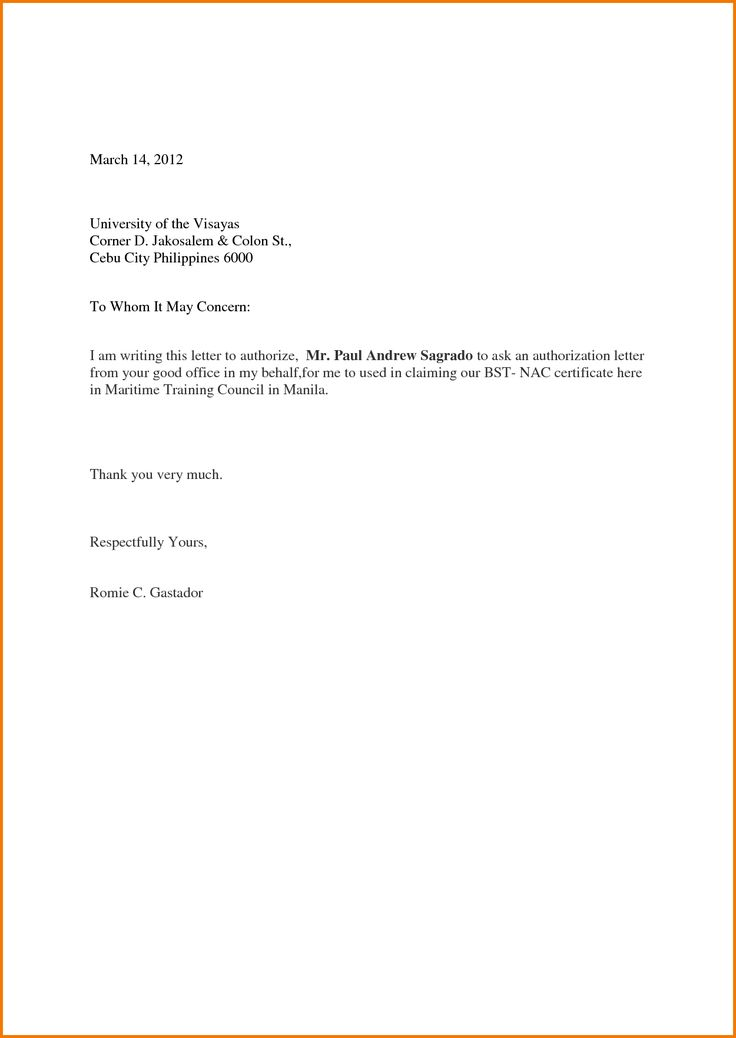 authorization letter sample act behalf format samples best - authorization letters sample