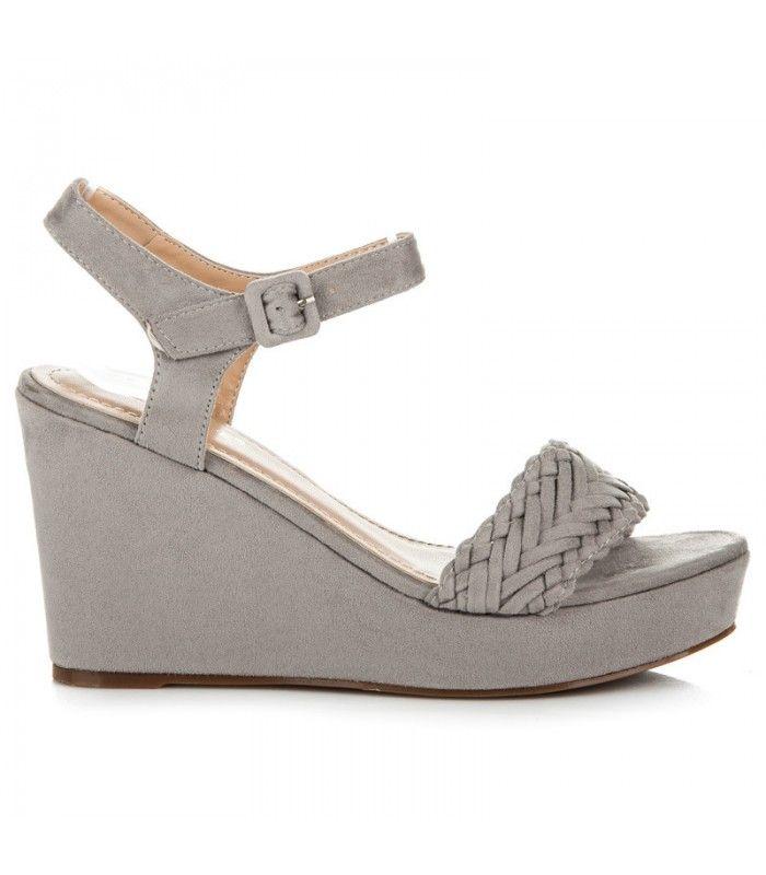 Pletené šedé sandále S-297G