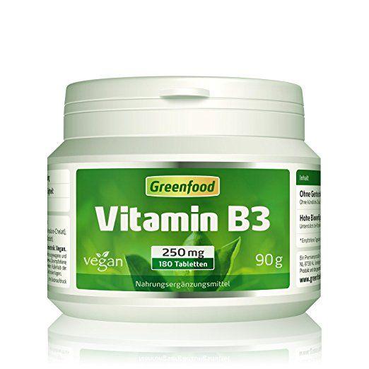Greenfood Vitamin B3, 250mg, flushfree, 180 Tabletten - hochdosiert, vegan