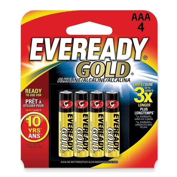 4 Pack Of Aaa Of Eveready Gold Batteries Alkaline Battery Gold Alkaline