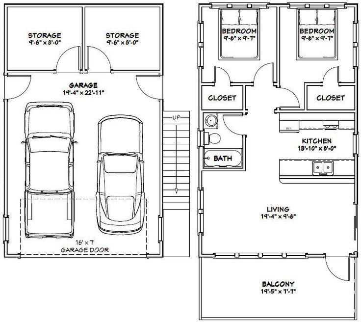 20x32 House 2 Bedroom 4 12 Roof Pitch Pdf Floor Plan Model 7k 2 Garage Apartment Plans House Plans Carriage House Plans