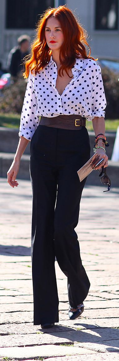 Chic Professional Woman Work Outfit. Pretty and poised #GetDotty #PatternPlay #HATCHFall13 via Taylor Tomasi Hill