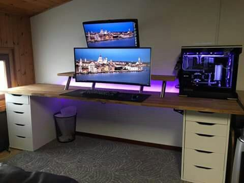 gaming desks gaming desks pinterest gaming desk desks and gaming setup. Black Bedroom Furniture Sets. Home Design Ideas