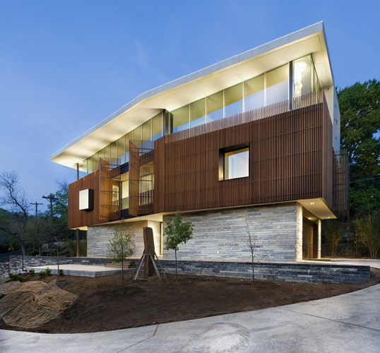 Amazing simple minimalist wood slats for walls modern for Contemporary stone house exterior