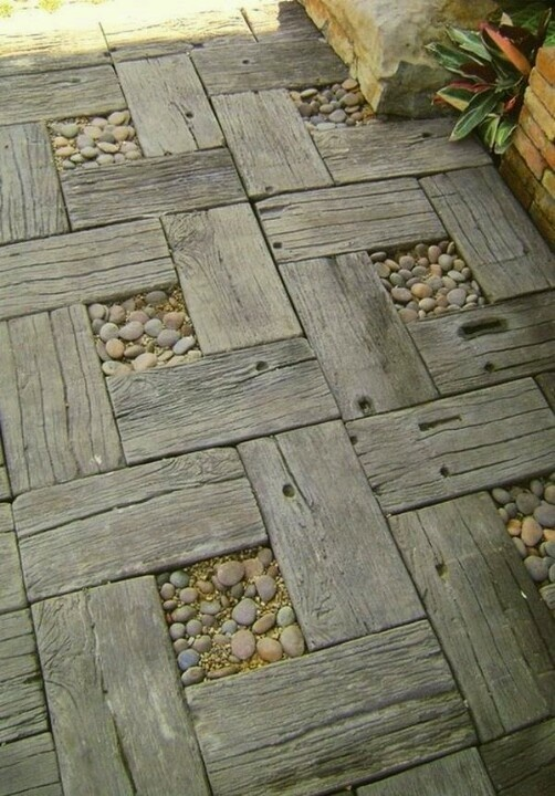 Beautiful pathway - reclaimed timber & pebbles