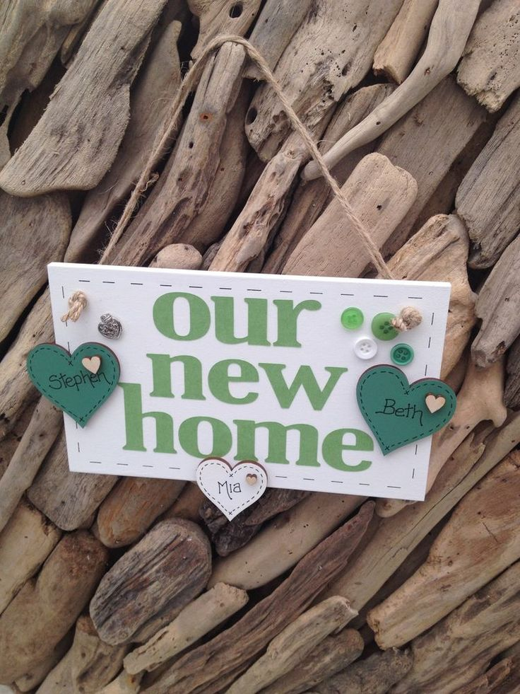 New Home Personalised Housewarming Gift New House  Plaque Sign Hearts for Names