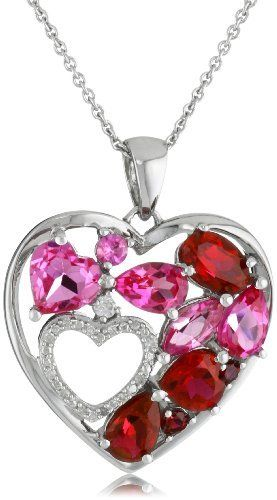 """Sterling Silver Created Ruby and Created Pink Sapphire Double Heart Diamond Pendant Necklace, 18"""" Amazon Curated Collection. $79.00. Made in India"""