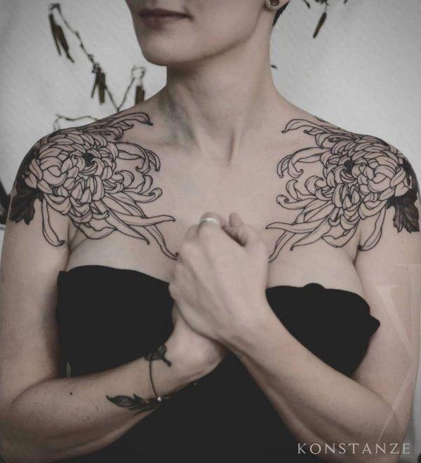 Illustrative Symmetrical Botanical Tattoos On Both Shoulder Shouldertattoo Tattoos Tattoo Shoulder Tattoo Shoulder Tattoos For Women Chest Piece Tattoos