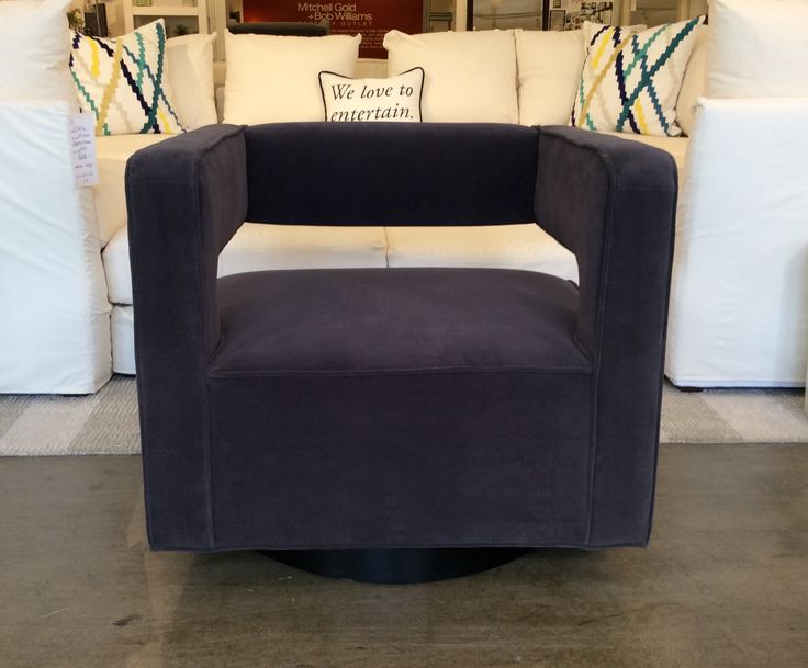 Nico Full Swivel Chair In Gilmore~Charcoal