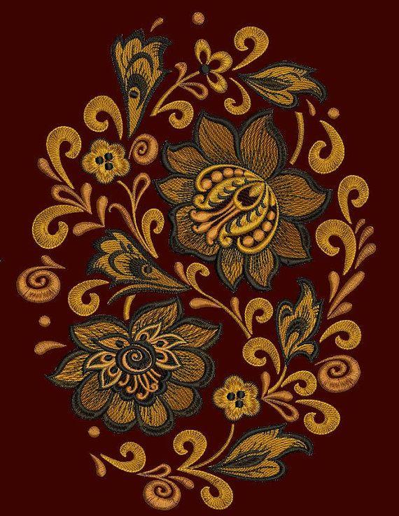 Русский Хохломской орнамент Кудрина. Овал. от ArtEmbroideryDesigns