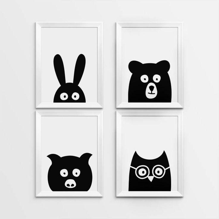 Nursery Art Set of 4, Nursery wall art, Peekaboo animal, Bunny, Bear, Pig, Owl, Kids room decor, Nursery print,  Minimal, Nursery decor by WallPrintFactory on Etsy