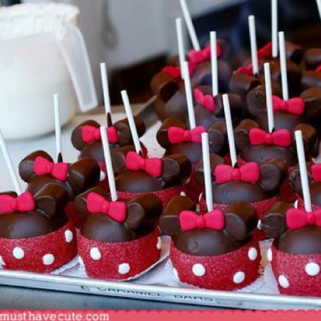 Minnie Mouse popsMice, Candies Apples, Minniemouse, Minis Mouse, Cake Pop, Parties Ideas, Minnie Mouse Cake, Disney Food, Caramel Apples