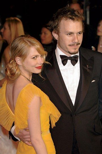 Michelle Williams and Heath Ledger at the 2006 Vanity Fair Oscar party. Both were nominated that year for their performances in Brokeback Mountain. By David Fisher/Rex USA.