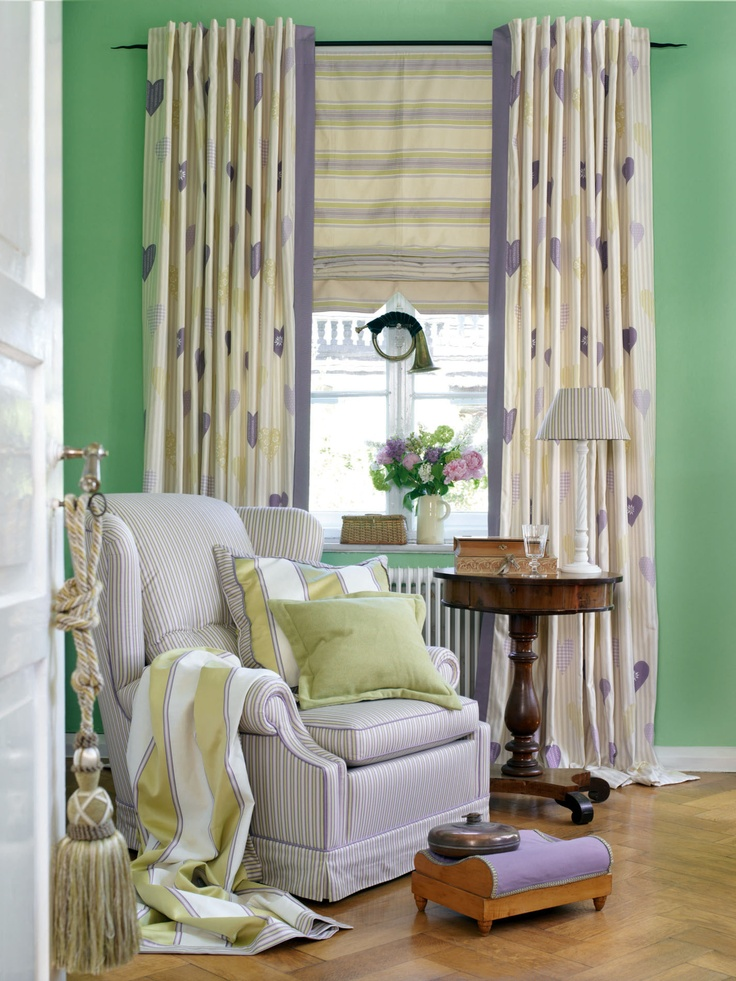 Green Walls With Fun Curtains