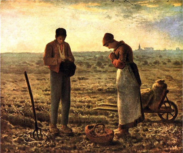 19. Millet - El angelus - 1859. Es la primera vez que dos campesinos centran homogéneamente la temática de la pintura.