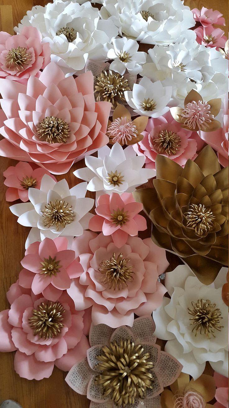 best Цветы из бумаги images on Pinterest  Paper flower backdrop