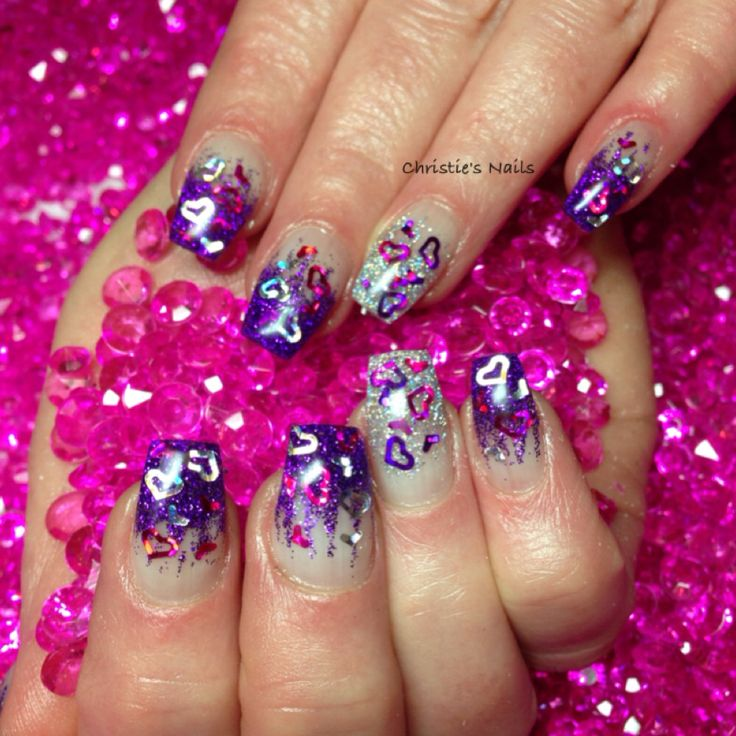 Christie's Corner - purple silver fade. Coffin nails