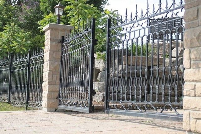 Extraordinary Wrought Iron Outdoor With Wrought Iron Gate And Black Gatein Landscape Traditio