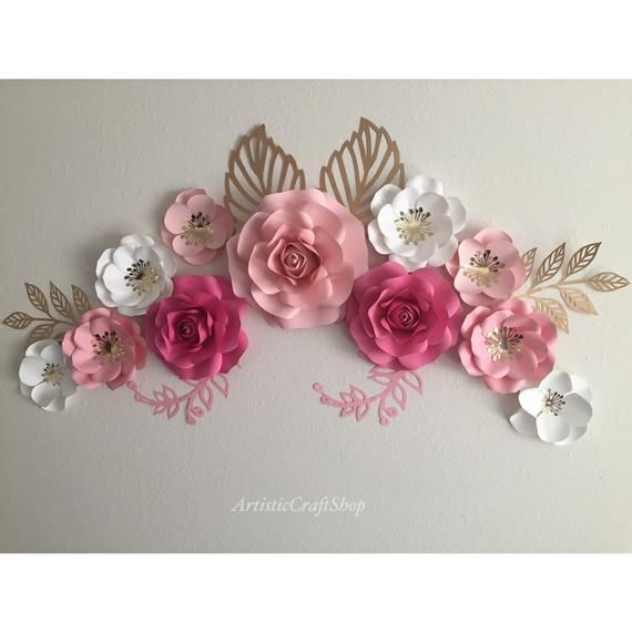 Gorgeous 11 Pc Paper Flowers Wall Decor Backdrops Nursery