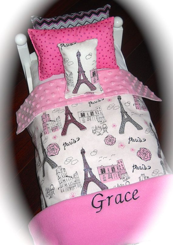 ... Girl Doll Grace Personalized Paris Glitter Doll Bed Bedding 18 Inch