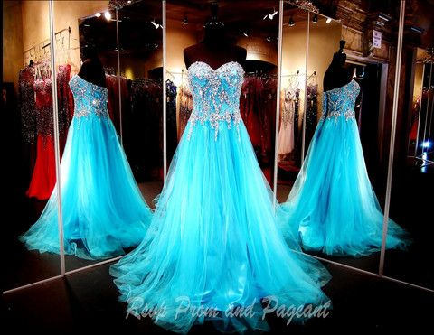 Brea! Stunning Sweetheart Bodice Beaded Blue Tulle Long Prom Dress,A Line Lace Back Up Prom Gown