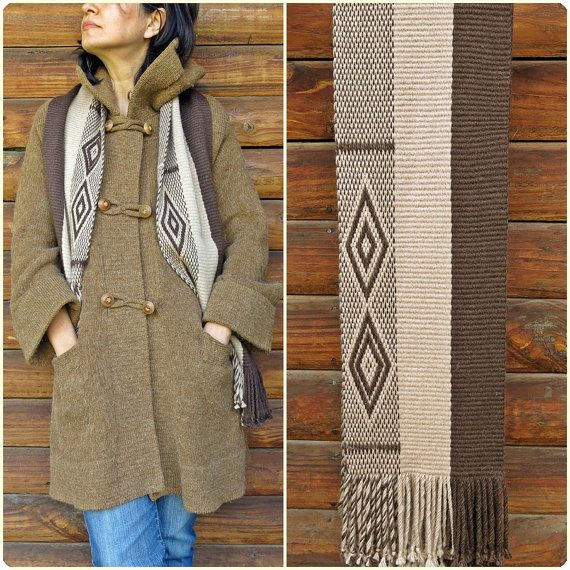 Bufanda de alpaca, echarpe, chal, unisex, moda de invierno, diseño mapuche, telar vertical, tonos tierra, fibra étnicos, tejidas a mano, natural, rústico