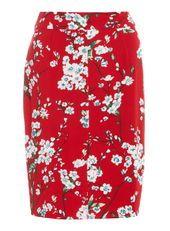 **Ruby Rocks Red Floral Midi Pencil Skirt
