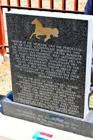 Photos from Anglo Boer War 1899-1902 Cape Rebels captured and executed during the war - Joiners - Pieter Bouwer en Adolf van Emmenis 24 Augustus 1901 deur vuurpeleton tereggestel en begrawe.