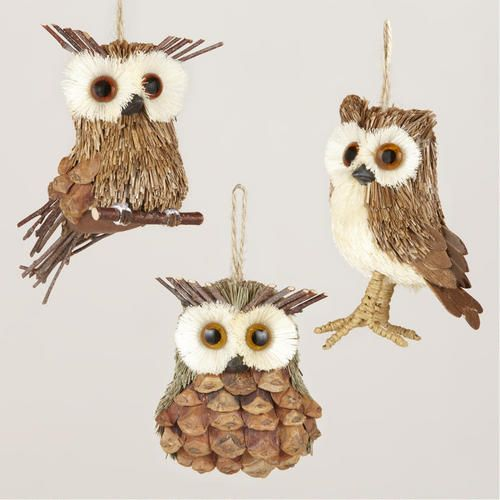 One of my favorite discoveries at WorldMarket.com: Natural-Fiber Owl Ornaments, Set of 3