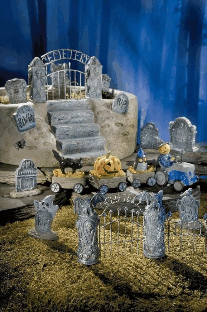 mini spooky town halloween village miniature haunted fairy garden planter cemetery