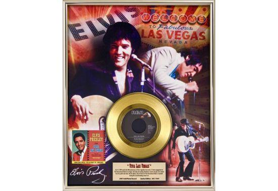 """ELVIS PRESLEY """"VIVA LAS VEGAS"""" Disque d'or 24CT avec encadrement en verre Dimensions 41 cm x 51 cm"""