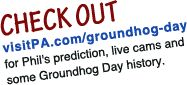 LiveStream from Gobbler's Knob in Punxsutawney, Pennsylvania.  Check back here on February 2nd to see Phil's  2016 prediction LIVE here: http://www.visitpa.com/groundhog-day-live-stream/