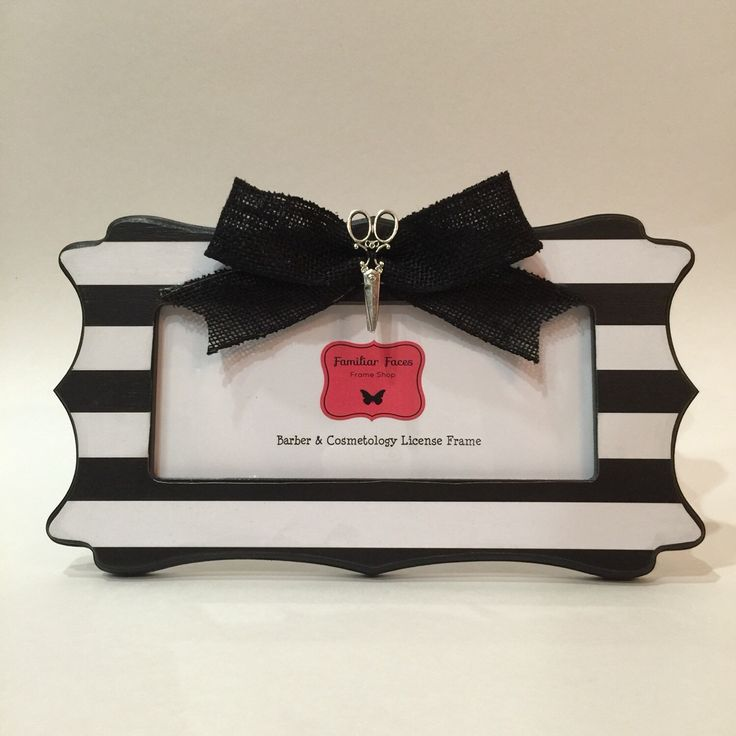 barber cosmetology license frame black white stripes with black bow and silver scissors fits 8