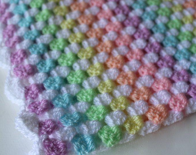 Ganchillo manta del bebé, manta de cuadrados de la abuela, arco iris, manta del bebé, bebé afgano, manta de cochecito, listo para nave